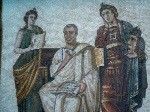 Tunisia: Bardo Museum mosaic of poet Virgil surrounded by two muses: