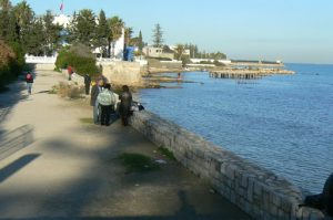 Tunisia: Carthage - seaside walkway
