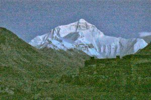 An unfortunately grainy image of the mountain after sundown. Note the