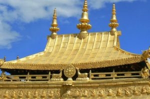 Tibet: Lhasa Close-up view of the golden roof of Jokhang Temple.