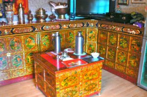 Tibet - a typical style of interior furniture decorating; made primarily