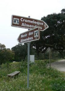 Portugal, Evora: road sign to the stones