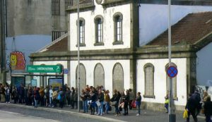 Portugal, Porto City: workers and students waiting for public transportation