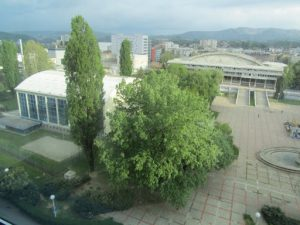 Croatia, Zagreb: view of sports center buildings and plaza in