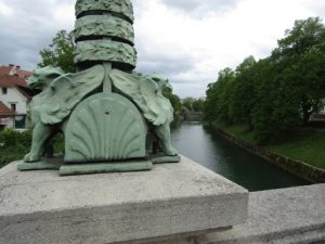 Slovenia, Ljubljana - lamp post detail