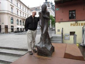 Slovenia, Ljubljana center; Richard with statue of Gustav Mahler (his